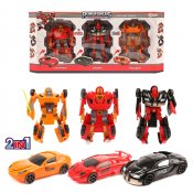 Transforming Robot Car, 3-pack