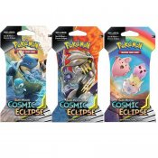 Pokemon 3-pakke Sun & Moon Cosmic Eclipse Booster Blister Trading Cards