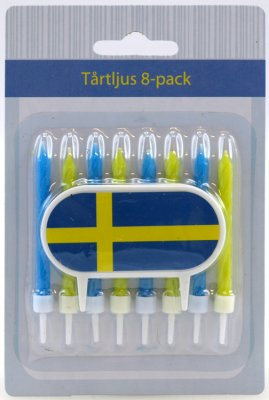 Bursdag lys med holdere (8-pack) Blue & Yellow